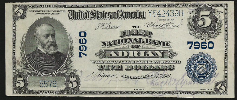 First National Bank of Ocean Park National Currency dollar bill