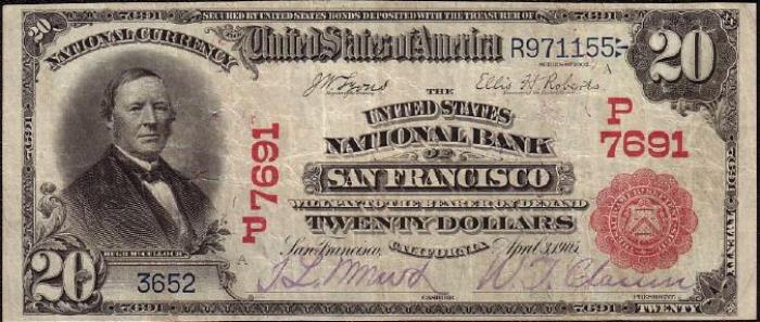 United States National Bank of San Francisco National Currency dollar bill
