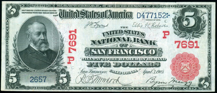 United States National Bank of San Francisco (7691) Five Dollar Bill Series 1902 Red Seal
