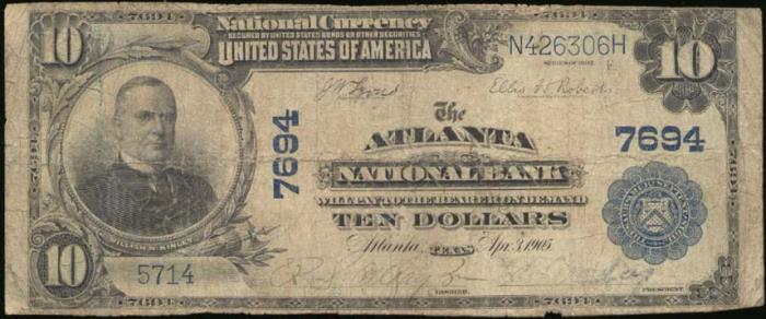 Atlanta National Bank, Atlanta National Currency dollar bill