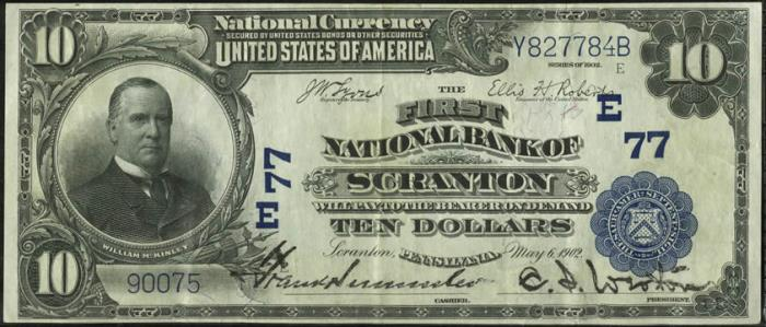 First National Bank of Scranton National Currency dollar bill
