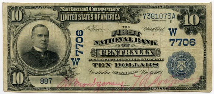 First National Bank of Centralia National Currency dollar bill