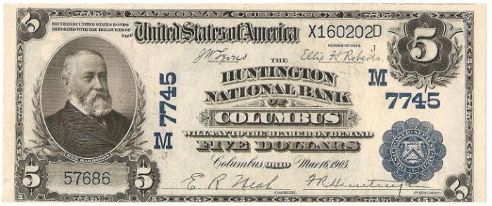 Huntington National Bank of Columbus National Currency dollar bill