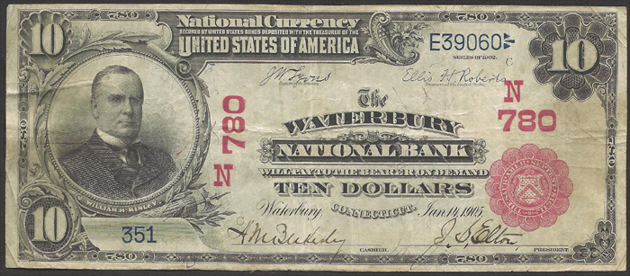 Waterbury National Bank, Waterbury National Currency dollar bill