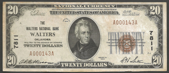 Walters National Bank, Walters National Currency dollar bill