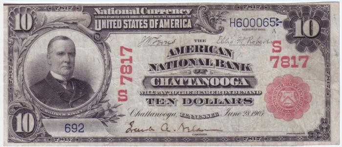 American National Bank of Chattanooga National Currency dollar bill