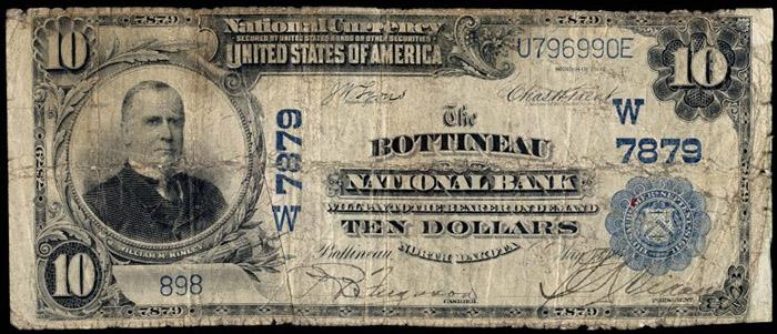 Bottineau National Bank, Bottineau (7879) Ten Dollar Bill Series 1902 Blue Seal