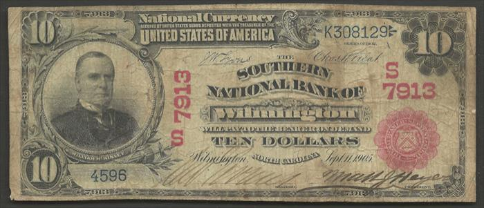 Southern National Bank of Wilmington National Currency dollar bill