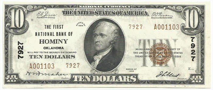First National Bank of Hominy National Currency dollar bill