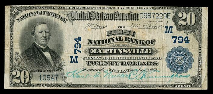 First National Bank of Martinsville (794) Twenty Dollar Bill Series 1902 Blue Seal