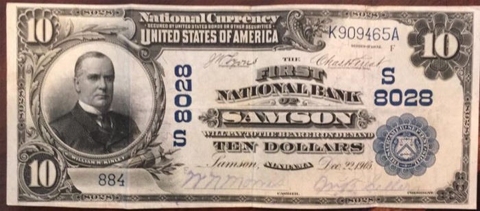 First National Bank of Samson National Currency dollar bill