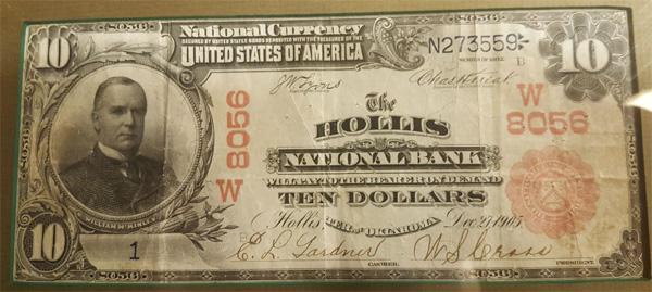 Hollis National Bank, Hollis National Currency dollar bill
