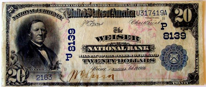 Weiser National Bank, Weiser National Currency dollar bill