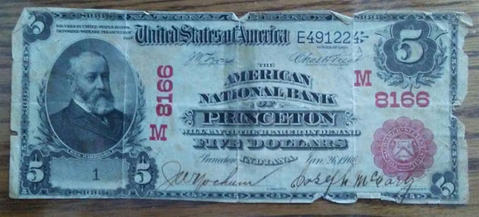 American National Bank of Princeton National Currency dollar bill