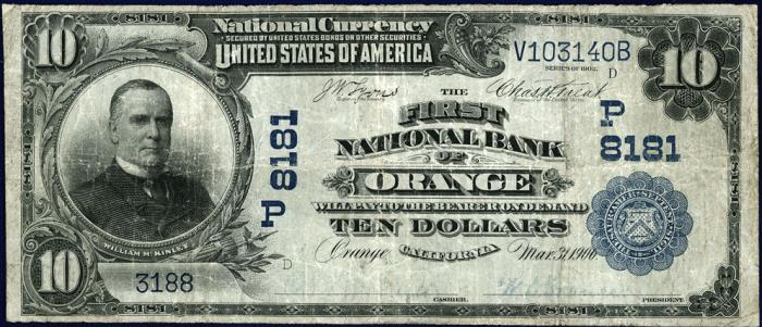 First National Bank of Orange (8181) Ten Dollar Bill Series 1902 Blue Seal