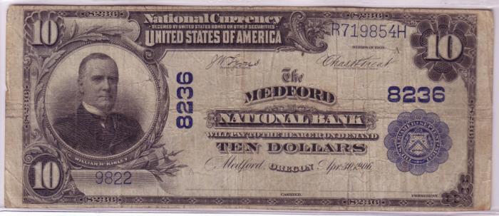 Medford National Bank, Medford (8236) Ten Dollar Bill Series 1902 Blue Seal