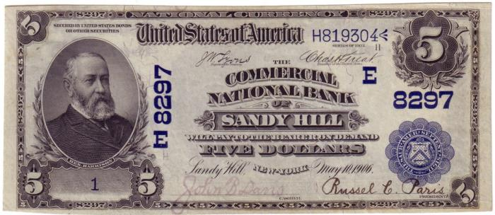 Commercial National Bank of Sandy Hill National Currency dollar bill