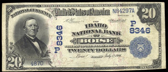 Idaho National Bank of Boise National Currency dollar bill