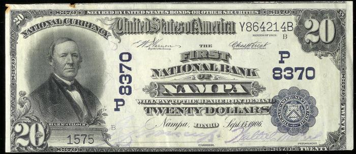 First National Bank of Nampa National Currency dollar bill