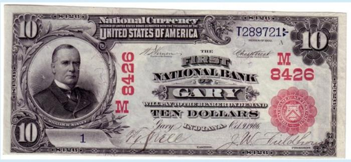 First National Bank of Gary National Currency dollar bill