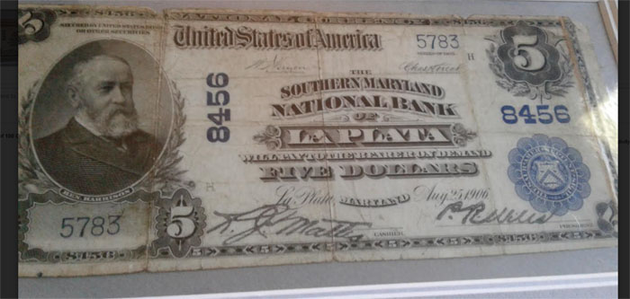 Southern Maryland National Bank of La Plata National Currency dollar bill
