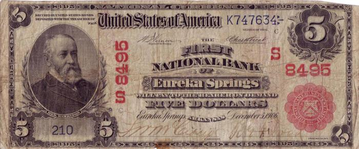 First National Bank of Eureka Springs National Currency dollar bill