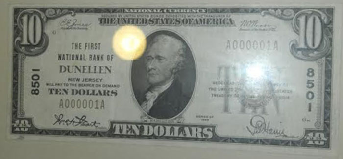 First National Bank of Dunellen National Currency dollar bill