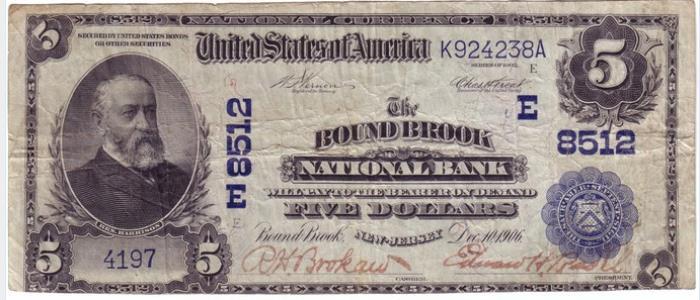 Bound Brook National Bank, Bound Brook National Currency dollar bill