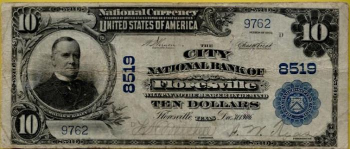 City National Bank of Floresville National Currency dollar bill