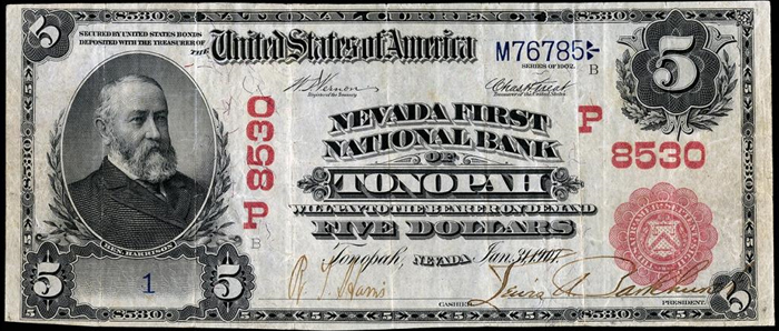 Nevada First National Bank, Tonopah National Currency dollar bill