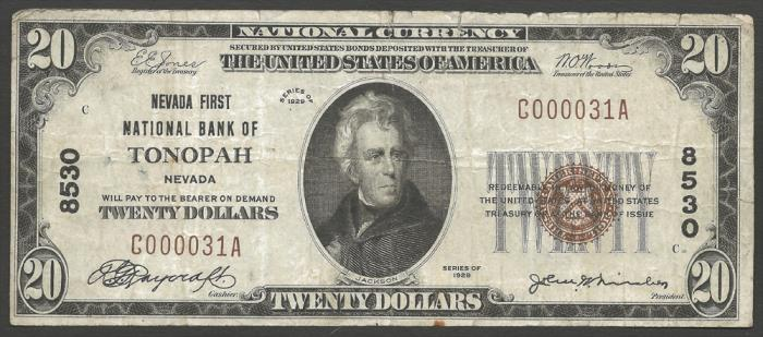 Nevada First National Bank, Tonopah (8530) Twenty Dollar Bill Series 1929