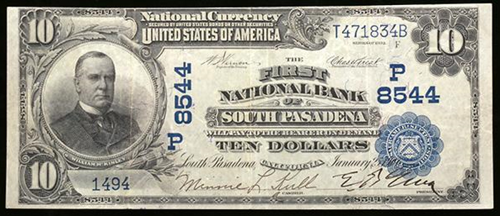 First National Bank of South Pasadena National Currency dollar bill