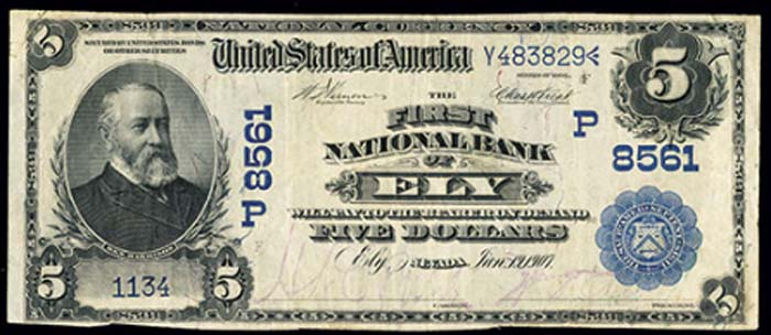 First National Bank of Ely National Currency dollar bill