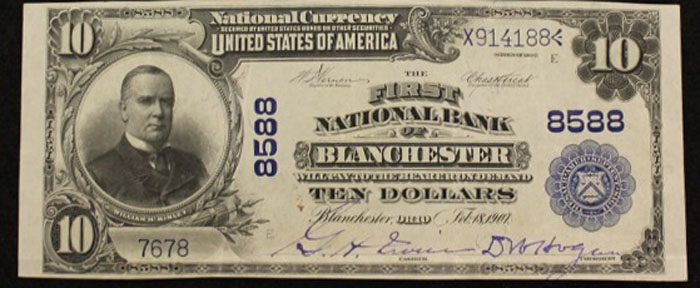 First National Bank of Blanchester National Currency dollar bill