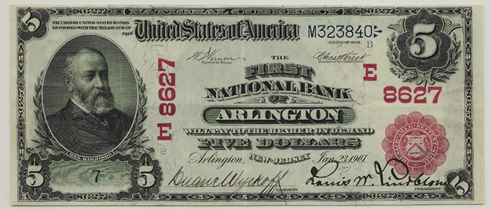 First National Bank of Arlington National Currency dollar bill