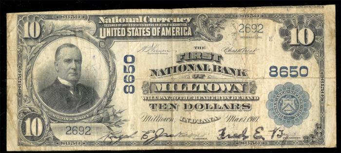 First National Bank of Milltown National Currency dollar bill