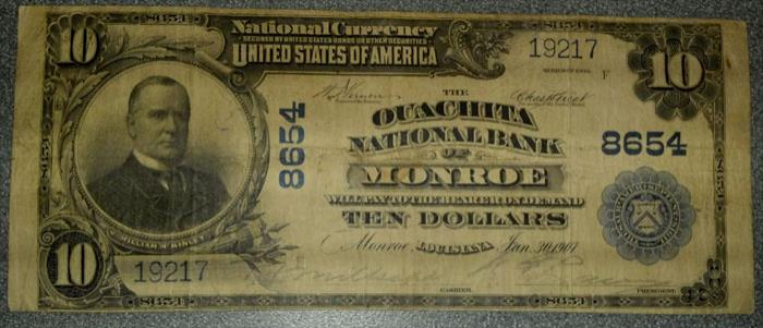 Quachita National Bank of Monroe National Currency dollar bill