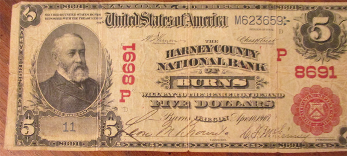 Harney County National Bank of Burns National Currency dollar bill
