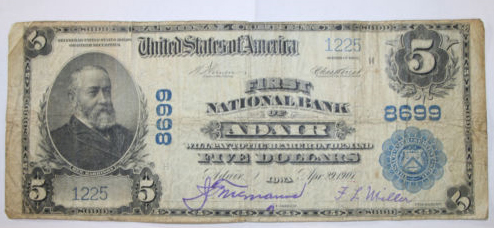 First National Bank of Adair National Currency dollar bill