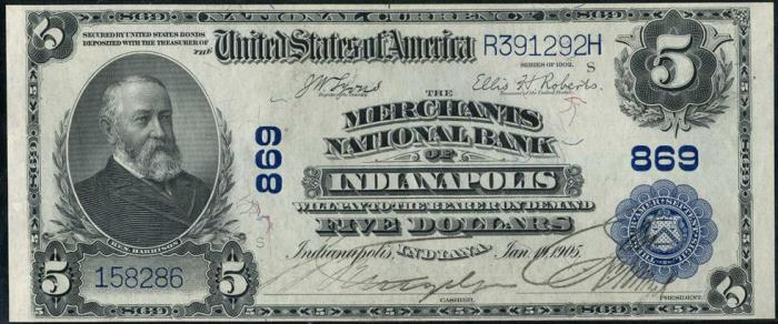 Merchants National Bank of Indianapolis (869) Five Dollar Bill Series 1902 Blue Seal