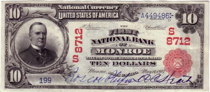 First National Bank of Monroe National Currency dollar bill