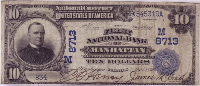 First National Bank of Manhattan National Currency dollar bill