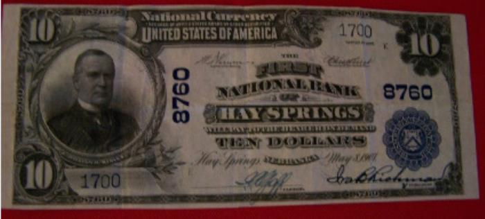 First National Bank, Hay Springs National Currency dollar bill