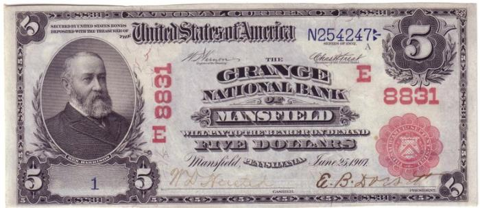 Grange National Bank of Mansfield National Currency dollar bill
