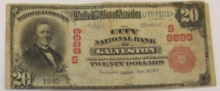 City National Bank of Galveston National Currency dollar bill
