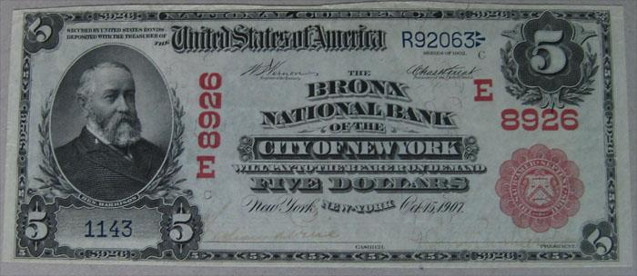 Bronx National Bank of The City of NY National Currency dollar bill