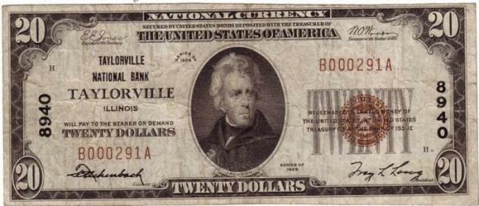 Taylorville National Bank, Taylorville National Currency dollar bill