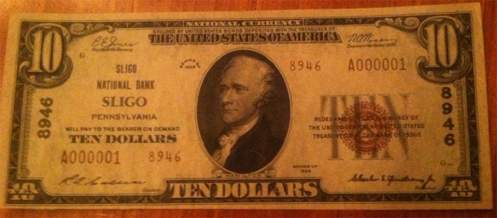 Grange National Bank of Clarion County at Sligo National Currency dollar bill