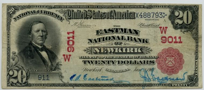Eastman National Bank of Newkirk National Currency dollar bill