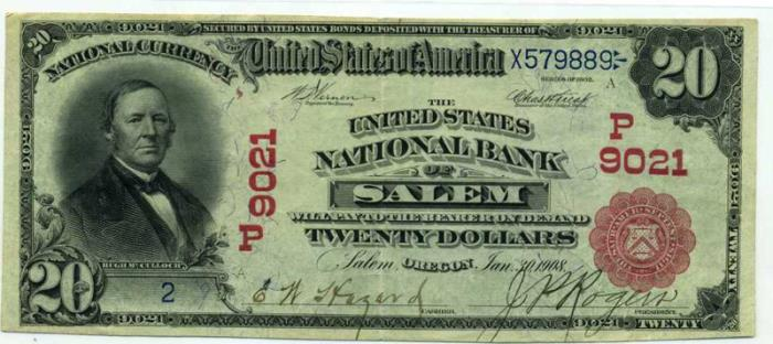 United States National Bank of Salem National Currency dollar bill